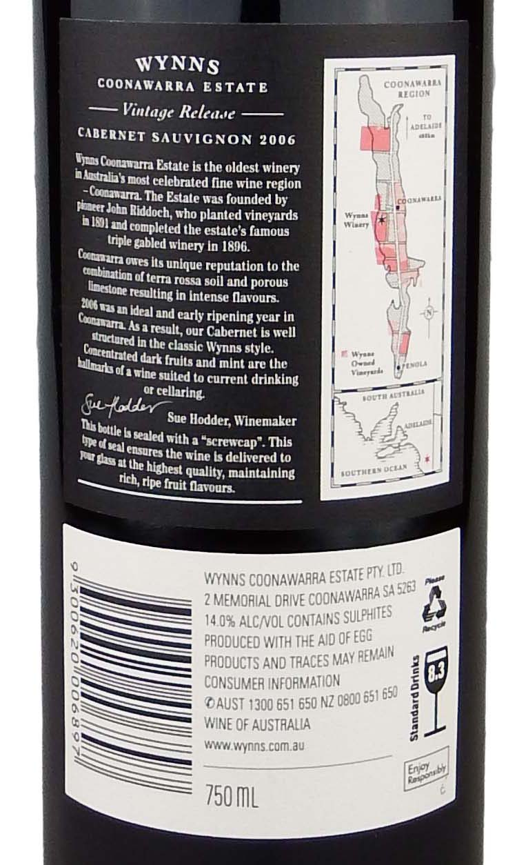 It is a graphic of Sizzling Wynns Coonawarra Estate Black Label Cabernet Sauvignon