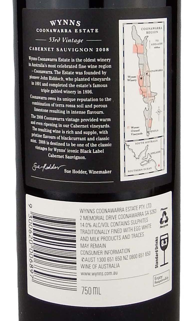 This is a graphic of Légend Wynns Coonawarra Estate Black Label Cabernet Sauvignon